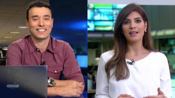 André Rizek sorrindo e Andréia Sadi gesticulando