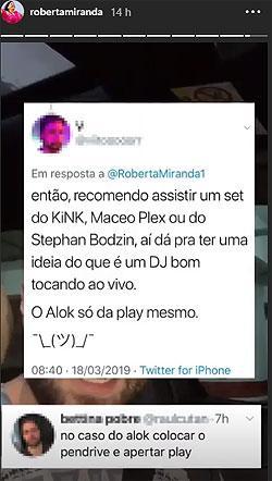 Após polêmica, Roberta Miranda não dá trégua para o DJ Alok