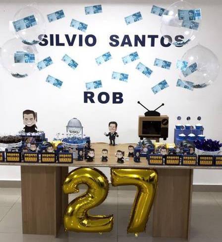 Ator no ar na Globo faz festa de aniversário com o tema Silvio Santos