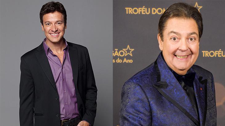 Rodrigo Faro sorrido para foto, à esqueda, e Fausto Silva no Melhores do Ano da Globo, à direita, em montagem do NaTelinha