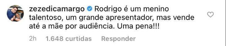"""Zezé Di Camargo detona Rodrigo Faro: \""""Vende até a mãe por audiência\"""""""