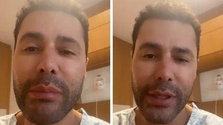 Rodrigo Sant'Anna chora em quarto de hospital