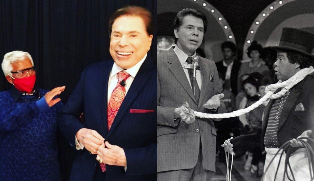 Montagem de Roque ao lado do apresentador Silvio Santos em foto recente, de máscara, e antiga, com uma cartola na cabeça e uma corda no pescoço