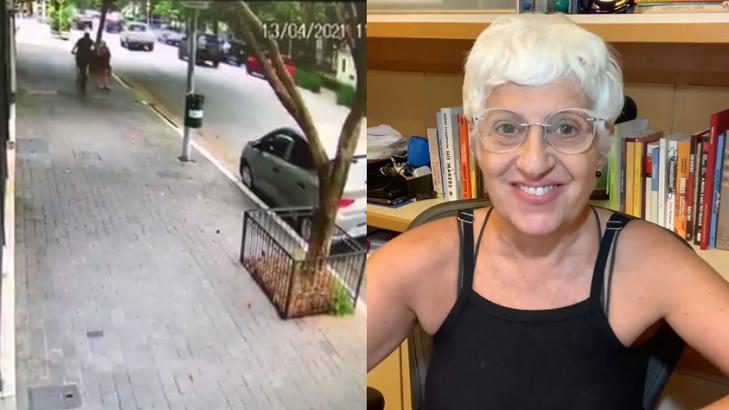 Rosana Hermann sendo assaltada (à esquerda) e Rosana Hermann no Instagram (à direita)