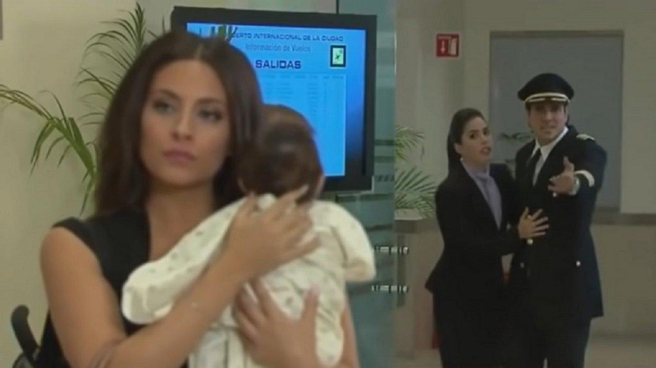 Cena de Coração Indomável com Maricruz com a filha no colo e Otávio atrás