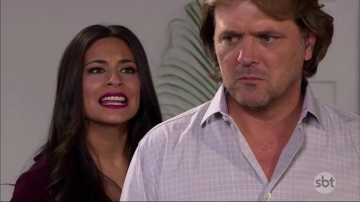 Cena de Coração Indomável com Miguel olhando com cara de bravo