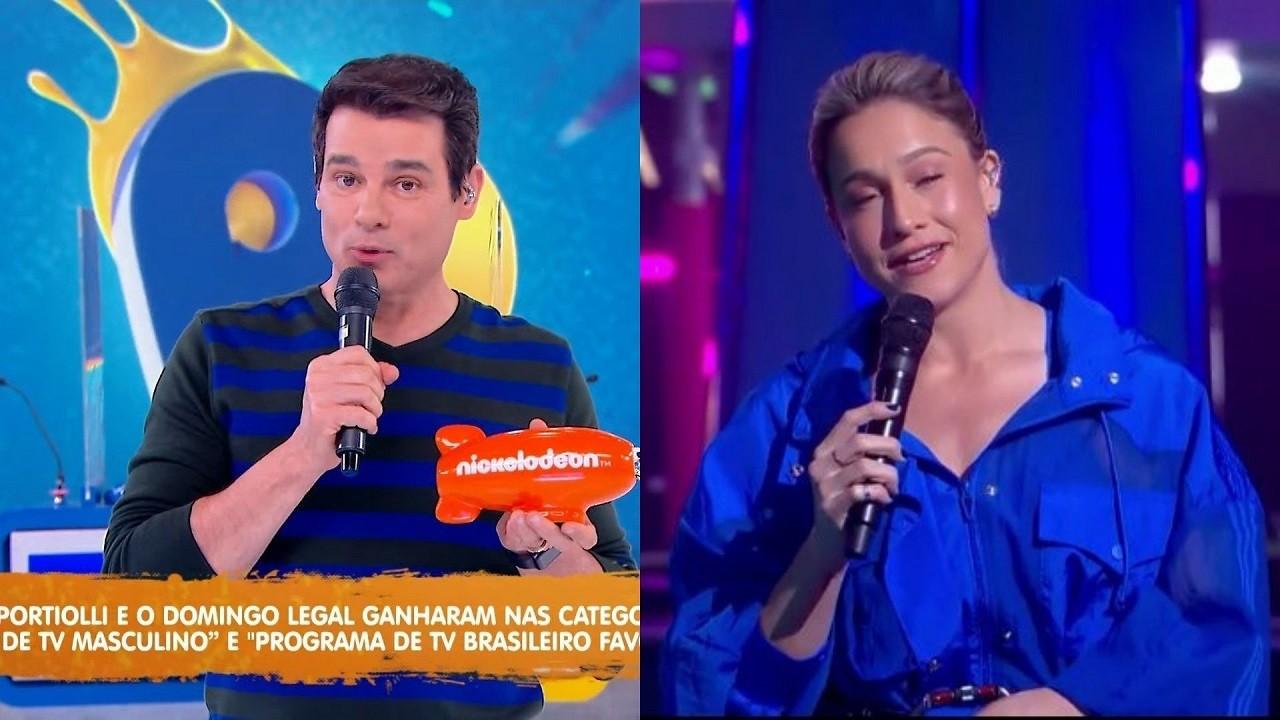 Montagem de foto com a tela dividida com Celso Portiolli e Fernanda Gentil, os dois segurando seus microfones