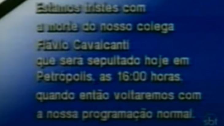 Há 35 anos, SBT ficava fora do ar em sinal de luto por morte de Flávio Cavalcanti