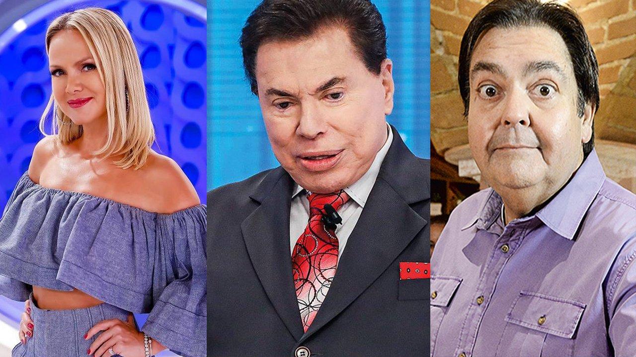 Eliana, Silvio Santos e Faustão em montagem do NaTelinha
