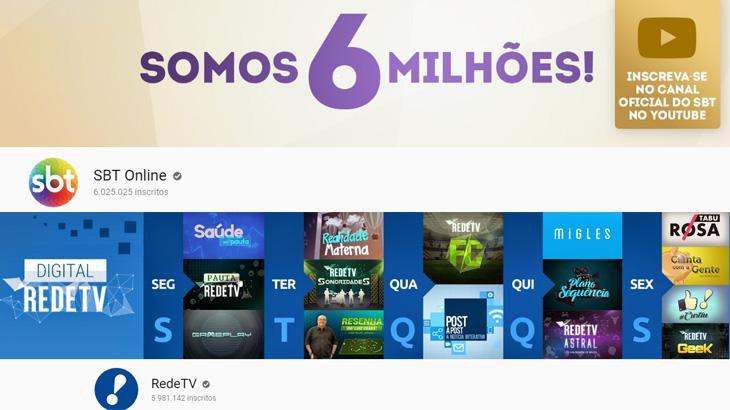 """SBT e RedeTV! entram em \""""guerra fria\"""" nos bastidores por canais no YouTube"""