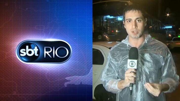 Logo do SBT Rio e o repórter Pedro Figueiredo, da Globo