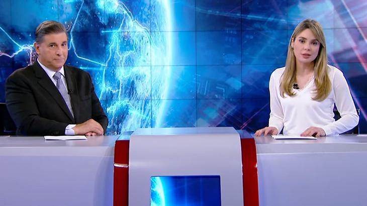 Carlos Nascimento e Raquel Sheherazade no SBT Brasil