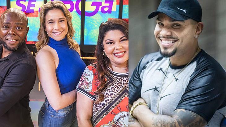 Tela dividida entre os apresentadores do Se Joga e o cantor Naldo Benny