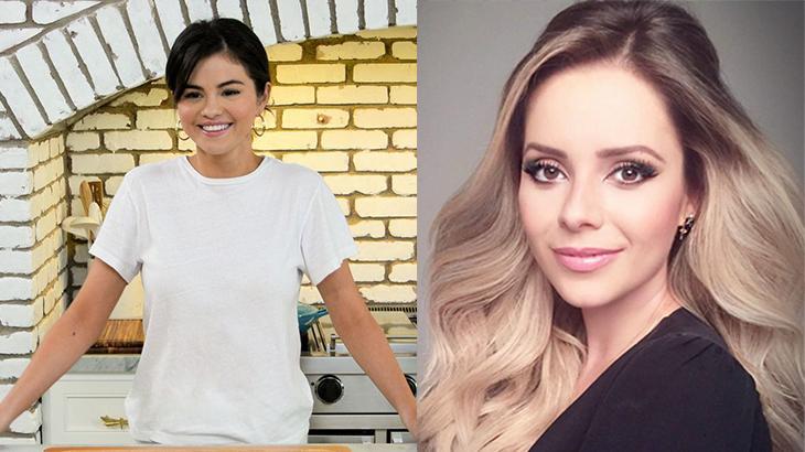 Selena Gomez  sorrindo na cozinha e Sandy em close para fotos em montagem do NaTelinha