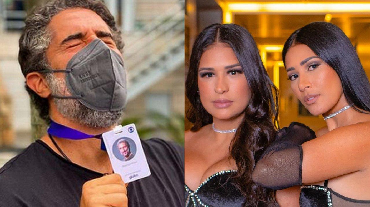 Marcos Mion (à esquerda) e Simone e Simaria (à direita) em foto montagem