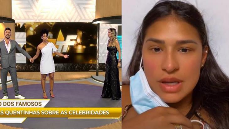 Cena do TV Fama (à esquerda) e Simone (à direita) em foto montagem