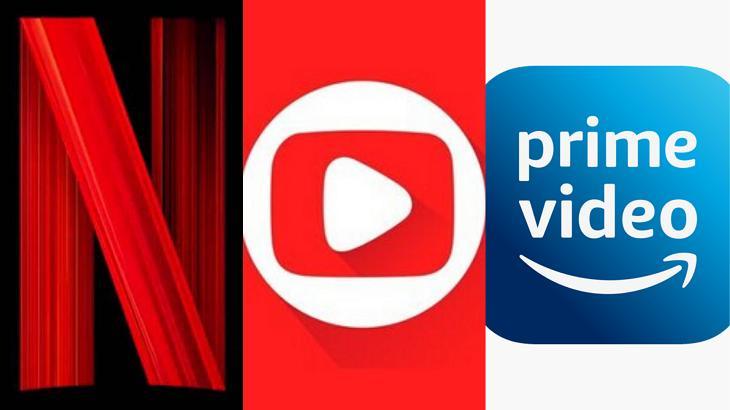 Logo da Netflix, Globoplay e Prime Vídeo