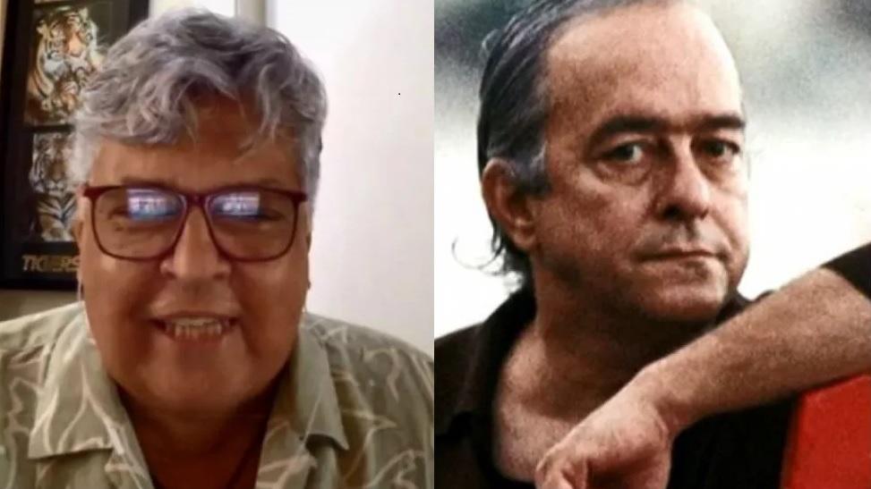À esquerda, Sidney Magal em entrevista ao É de Casa; à direita, Vinícius de Moraes