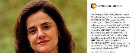 Família de Marieta Severo vai processar autor de texto falso que ataca o ex-presidente Lula