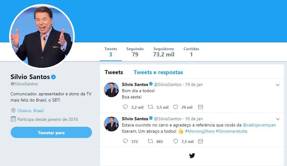 Completando uma semana, perfil de Silvio Santos no Twitter é verificado e ganha nova arroba