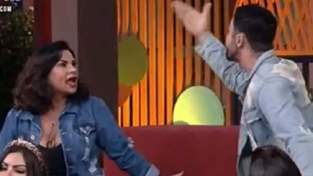 Solange Gomes e Rico Melquiades discutindo