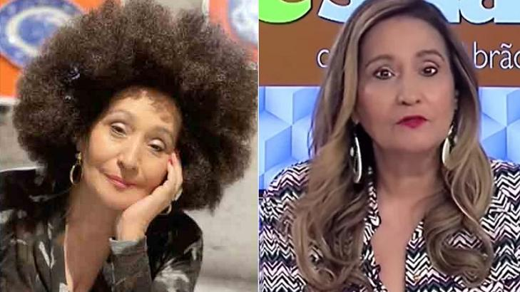 Sônia Abrão com peruca black power (à esquerda) e com seu cabelo original (à direita) em foto montagem