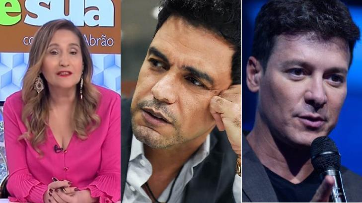 Sônia Abrão (à esquerda) criticou Zezé Di Camargo (meio) e defendeu Rodrigo Faro (à direita)