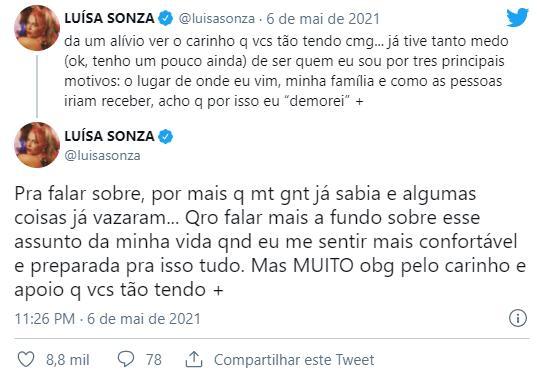 """Luísa Sonza se assume bissexual após beijão em cantora: \""""Tive tanto medo\"""""""