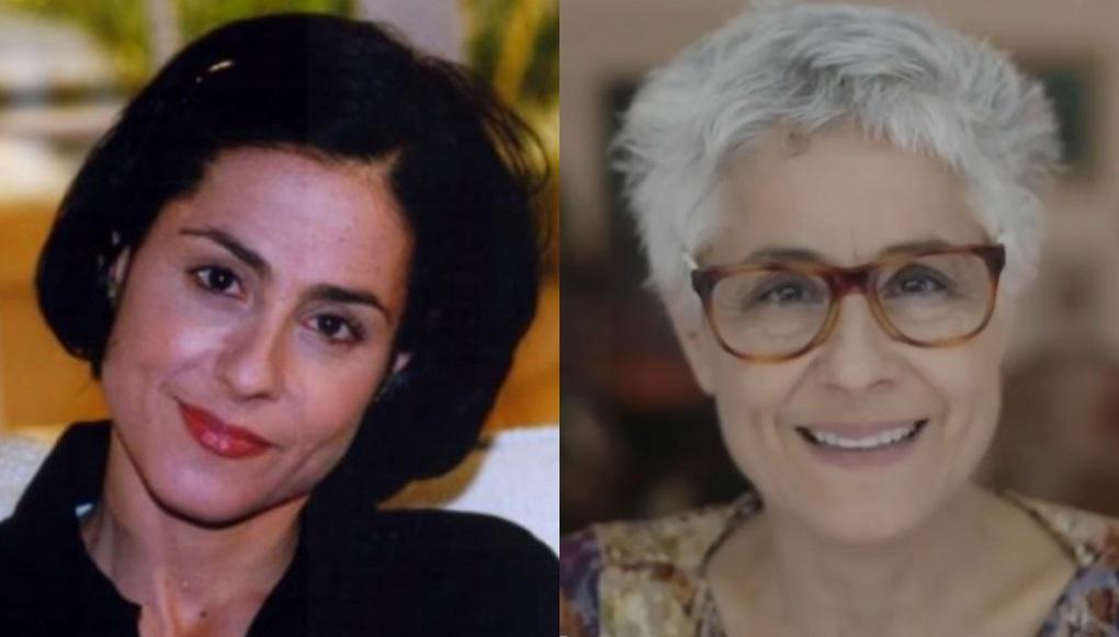 À esquerda, Soraya Ravenle como Yvete na novela Laços de Família, há 20 anos; à direita, a atriz em 2020, com os cabelos brancos
