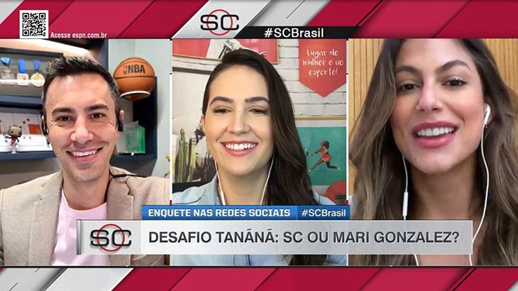 Bruno Vicari, Mariana Spinelli e Mari Gonzalez em telas divididas