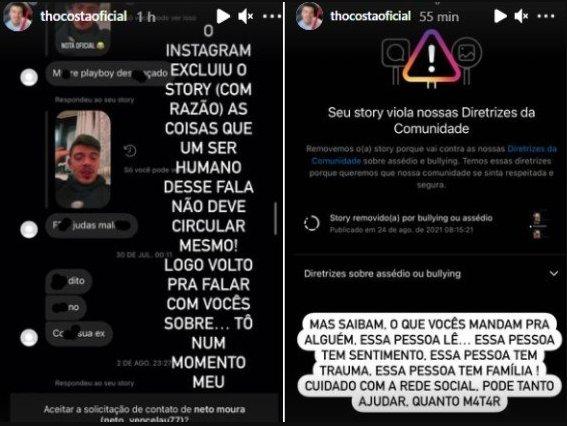 "Thomaz Costa expõe hater e diz que vai se afastar das redes sociais: \""Pode matar\"""