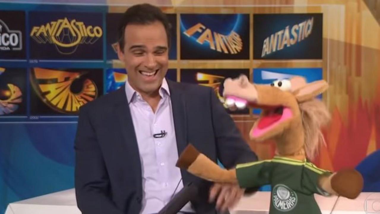 Tadeu Schmidt e o cavalinho do Palmeiras