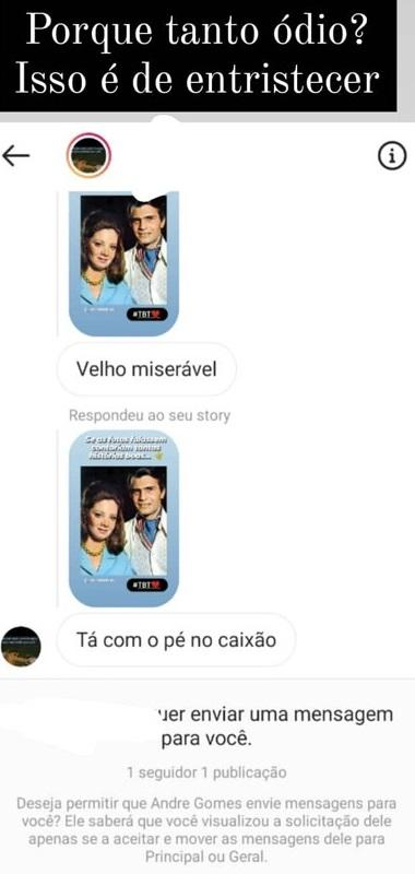 """Tarcísio Meira recebe mensagem de ódio e expõe: \""""É de entristecer\"""""""
