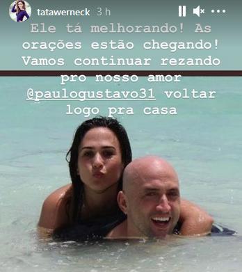 "Tatá Werneck revela estado de saúde de Paulo Gustavo: \""Continuar rezando\"""
