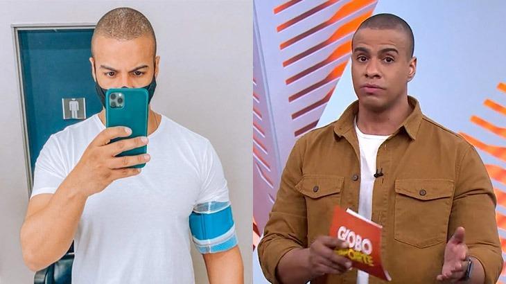 À esquerda, Thiago Oliveira exibe aparelho no braço para aferir pressão e batimentos cardíacos; à direita, o jornalista na apresentação do Globo Esporte