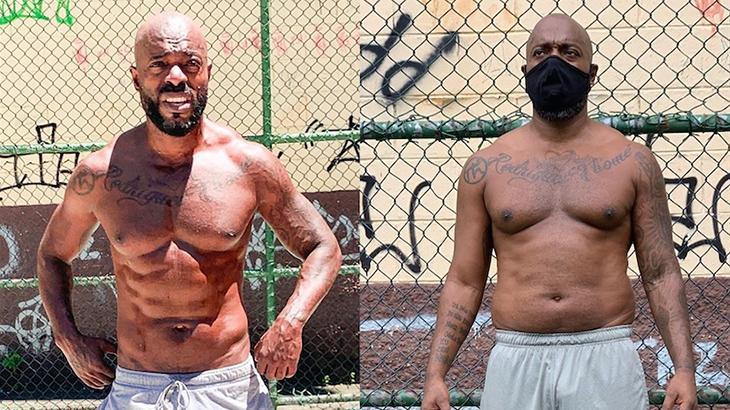 """O ator Thiago Thomé mostra """"antes e depois"""" na quarentena"""