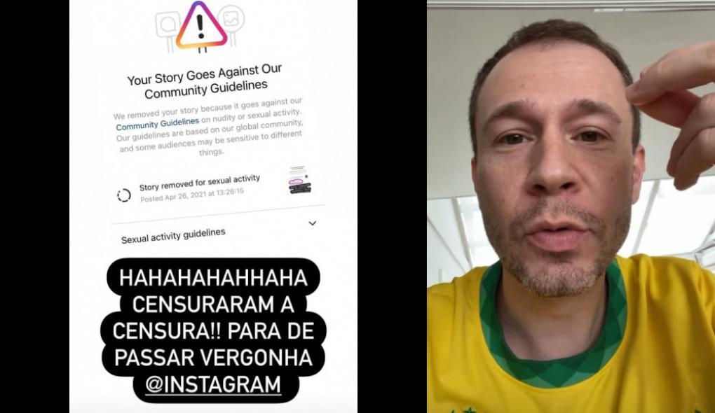 """Foto um: print de mensagem de """"censurado' do Instagram; foto dois: Tiago Leifert desabafa em seu escritório"""