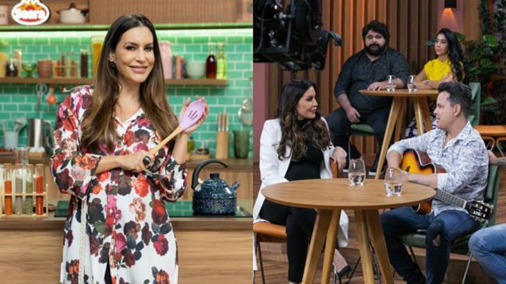 Grávida, Ticiana Villas Boas sorridente no estúdio do programa Duelo de Mães, que será exibido na Band em agosto