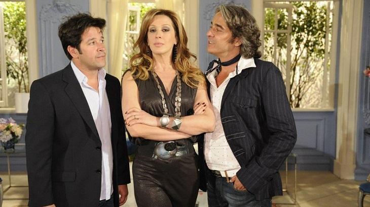 Murilo Benício, Alexandre Borges e Cláudia Raia em Ti Ti Ti