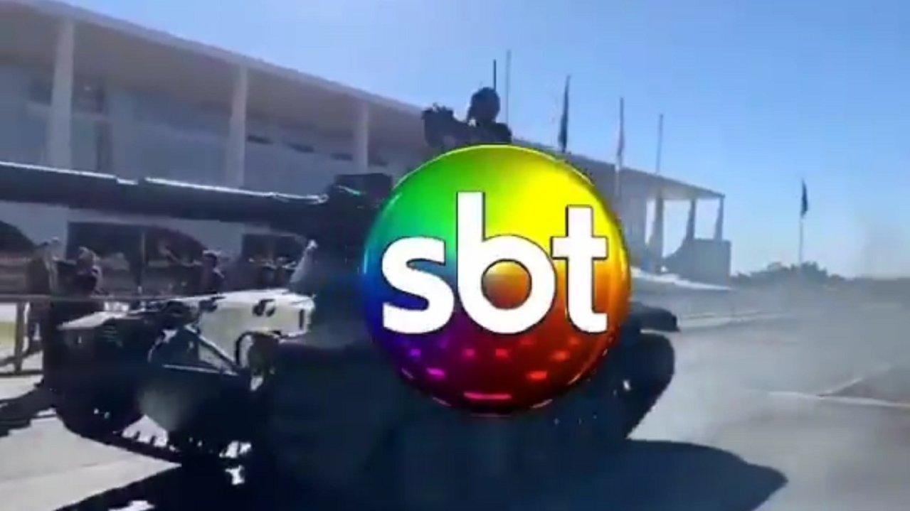 Tanque de guerra e o símbolo do SBT