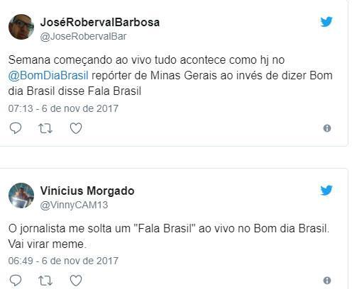 """Ao vivo, repórter da Globo confunde \""""Bom Dia Brasil\"""" pelo \""""Fala Brasil\"""" da Record TV"""