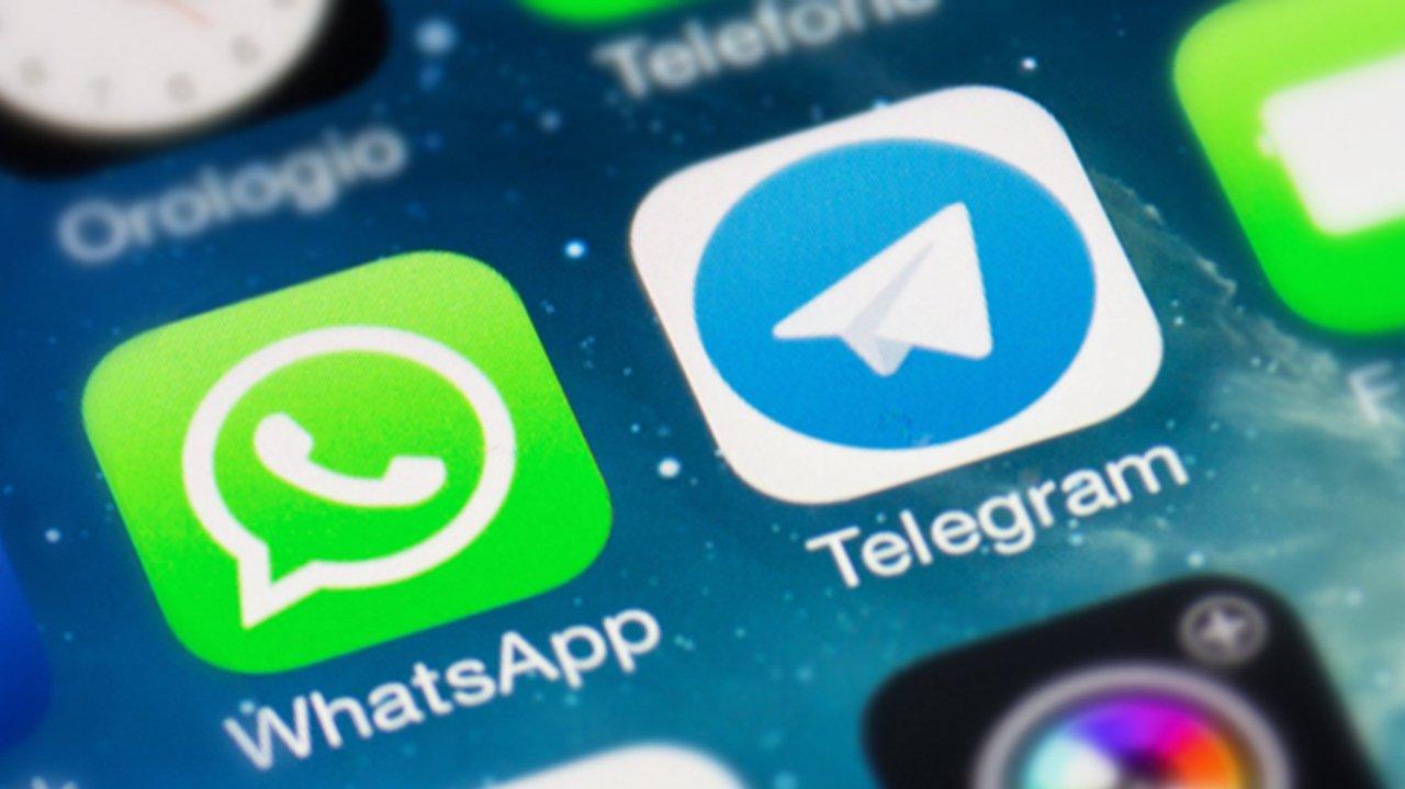 Logomarcas do WhatsApp e Telegram