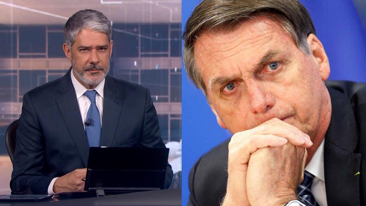 William Bonner no Jornal Nacional; Bolsonaro sério