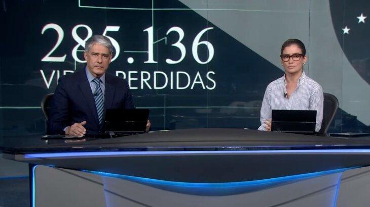 William Bonner e Renata Vasconcellos sérios na bancada do Jornal Nacional