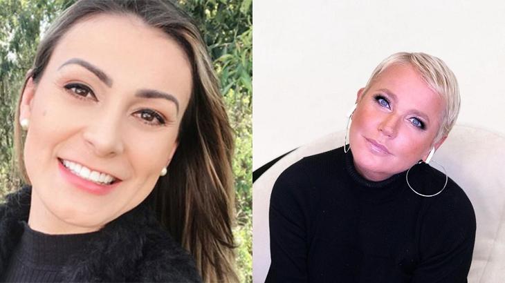 Andressa Urach e Xuxa sorrindo em foto montagem