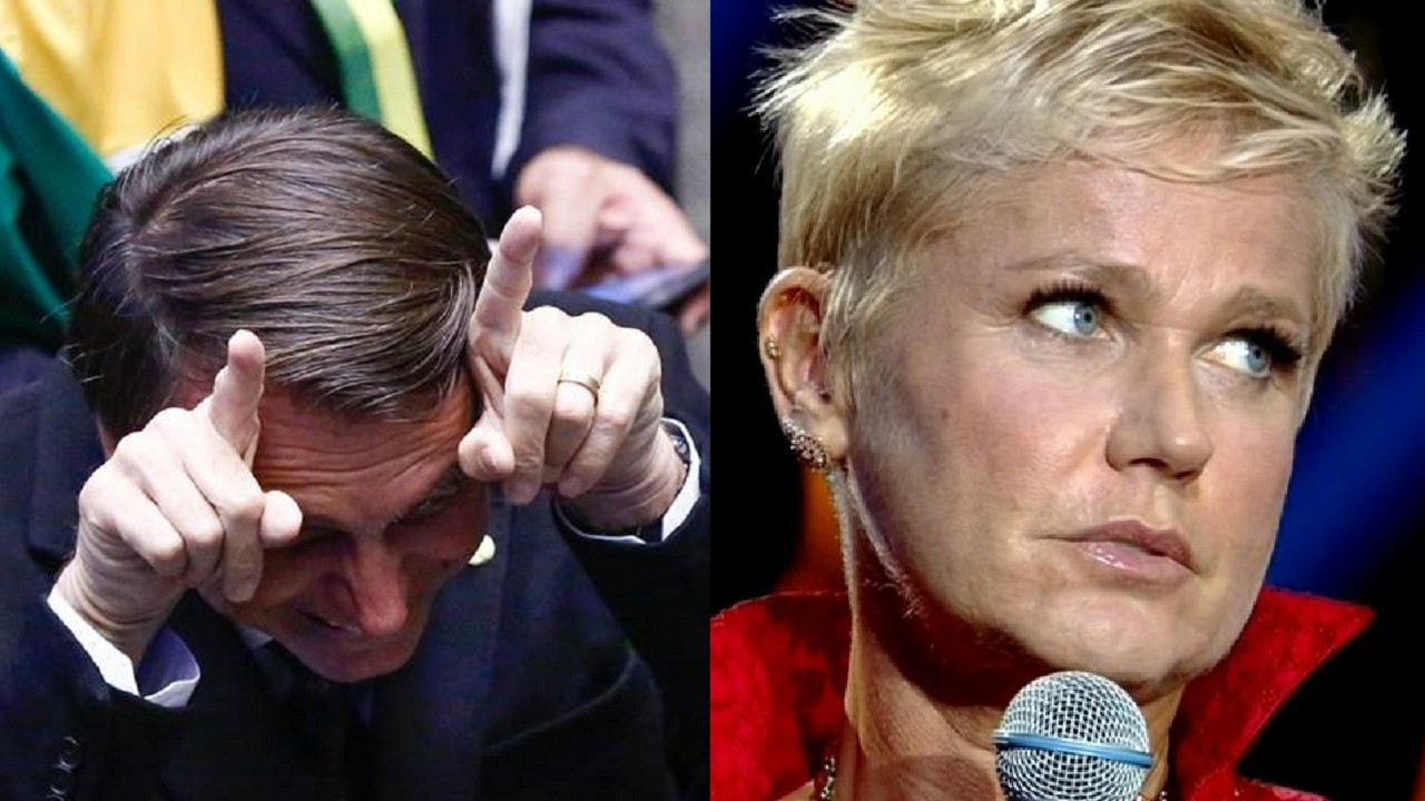 Bolsonaro fazendo chifre e rindo no Congresso Nacional e Xuxa segurando microfone com olhar sério