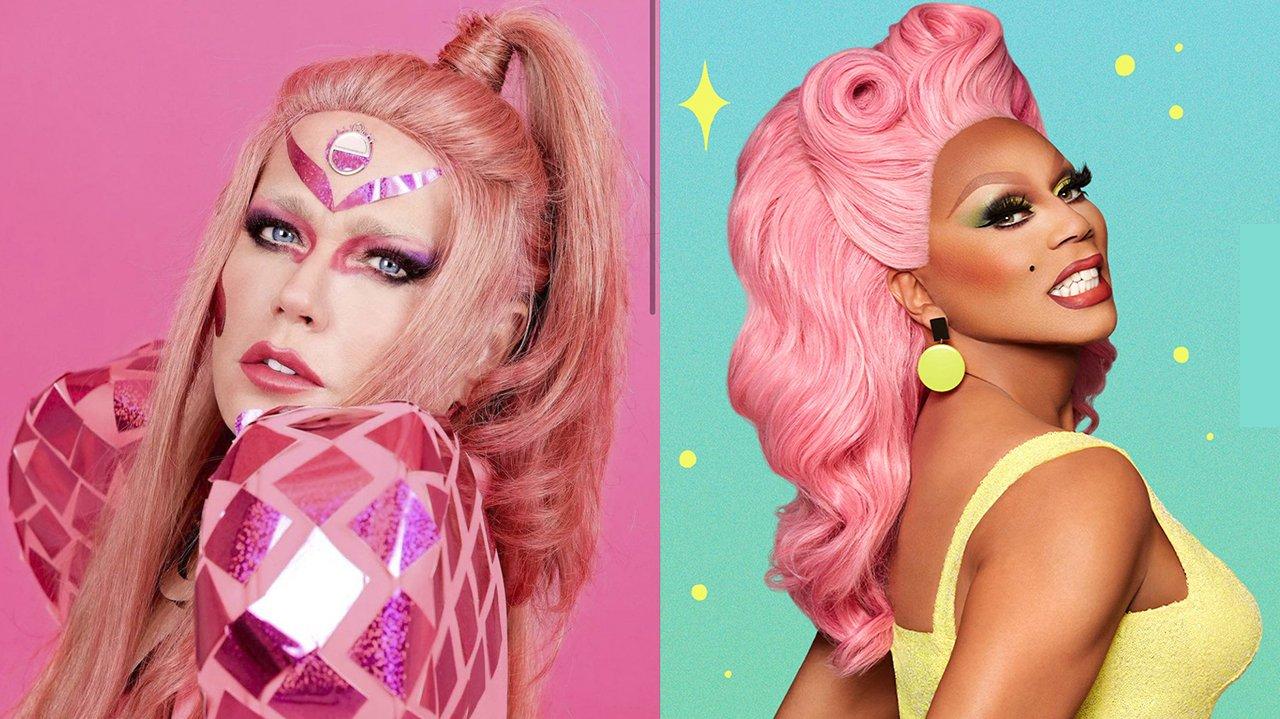 Xuxa como drag queen, à esquerda, e Rupal, à direita em montagem do NaTelinha