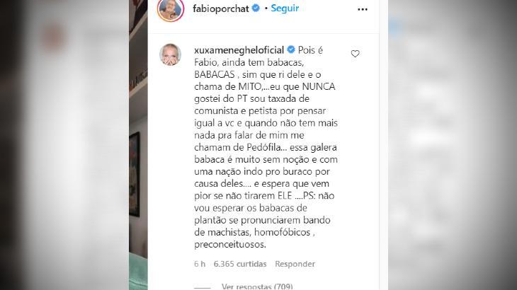 Xuxa detona Bolsonaro e apoiadores em vídeo de Porchat: Sem noção