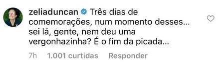 "Zélia Duncan critica Marina Ruy Barbosa após festa na pandemia: \""Fim da picada\"""